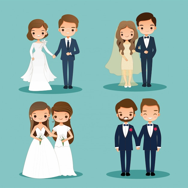 Cute bride and groom cartoon couple character set Premium Vector