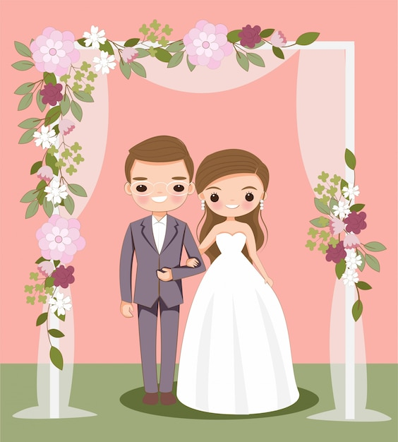 Cute bride and groom cartoon on wedding invitation card Premium Vector