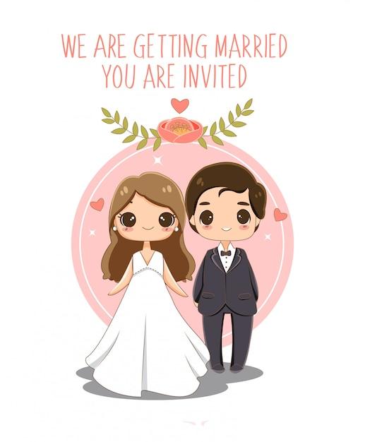 Cute  bride and groom in wedding invitations card Premium Vector