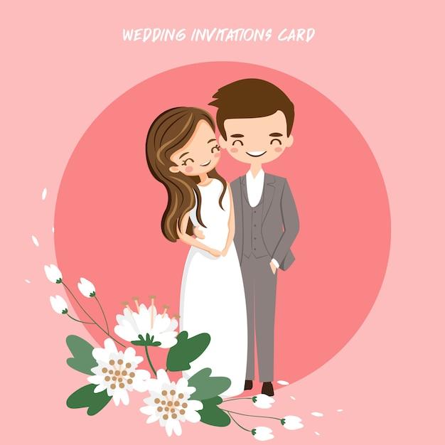 Cute bride and groom for wedding invitations card Premium Vector