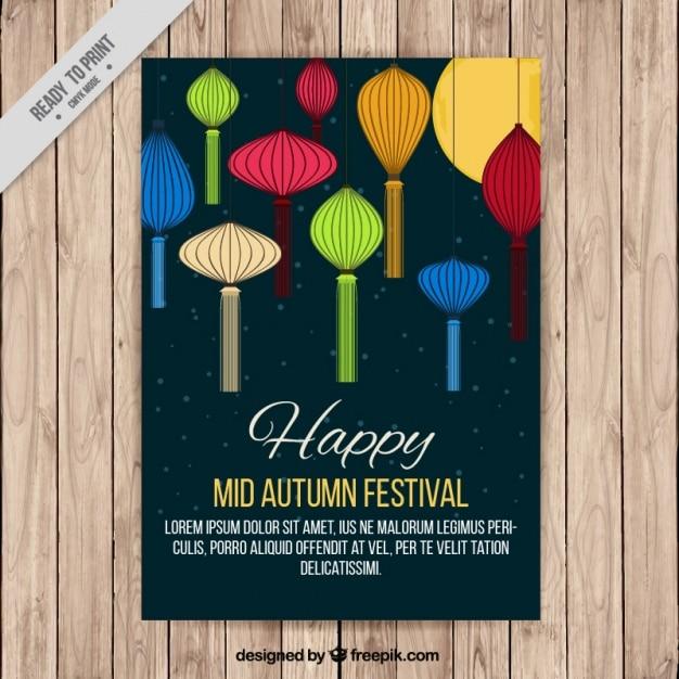 Cute brochure colored lanterns for mid-autumn festival