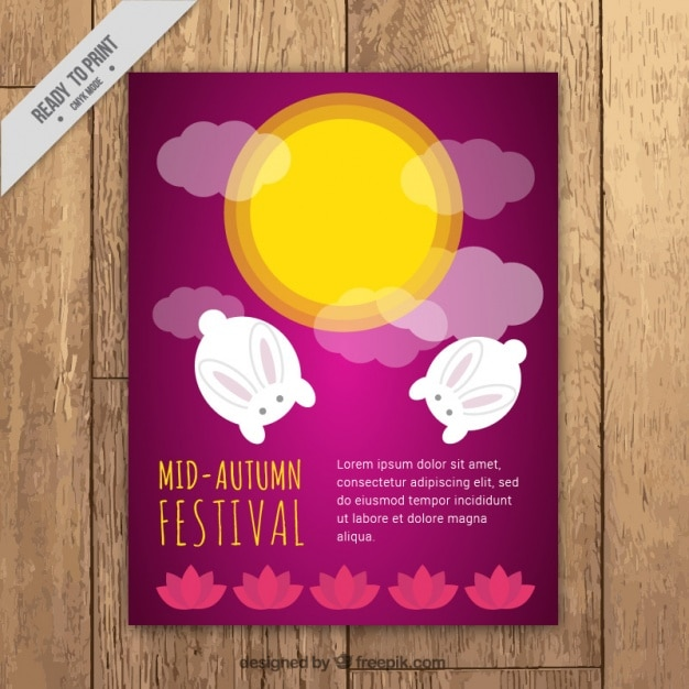 Cute brochure of mid-autumn festival
