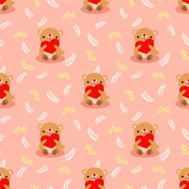 Cute brown bear hold a red heart seamless pattern. Premium Vector