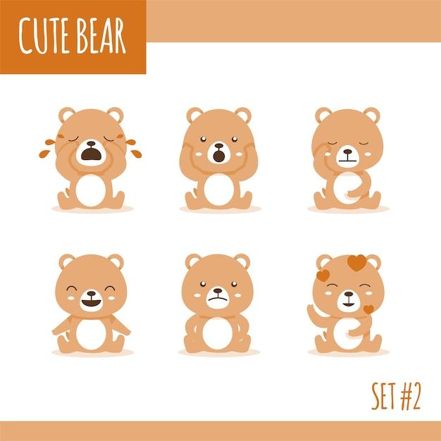 Милый бурый медведь устанавливает два Premium векторы