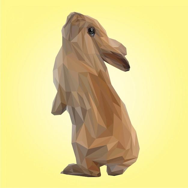 Cute brown rabbit polygonal vector Premium Vector