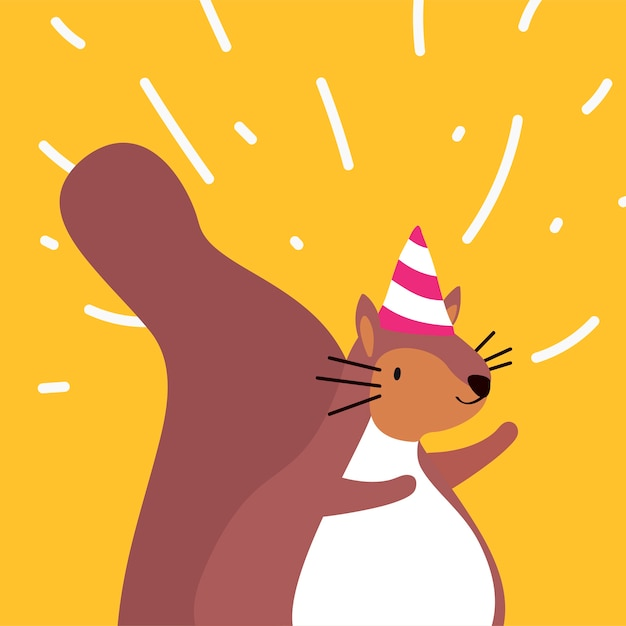 Cute brown squirrel wearing a party hat Free Vector