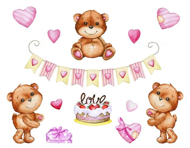 귀여운 브라운 테디 베어 케이크, 화환, 하트의 선물. 수채화 세트, 요소, 격리 된 배경에 만화 스타일 프리미엄 벡터