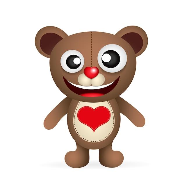 Cute brown teddy bear character Premium Vector