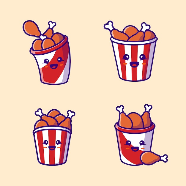 Cute bucket fried chicken collection cartoon vector  illustration. fast food  concept isolated  vector. flat cartoon style Free Vector