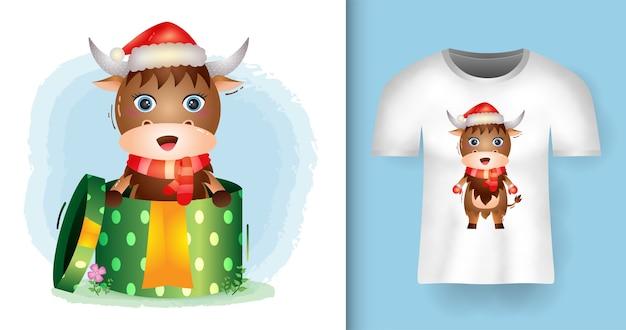 Tシャツデザインのギフトボックスにサンタ帽子とスカーフを使用したかわいいバッファロークリスマスキャラクター Premiumベクター