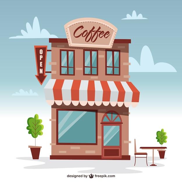 Cute building coffee shop Vector | Free Download