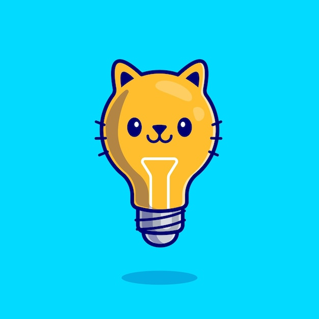 Fumetto sveglio del gatto della lampadina Vettore gratuito