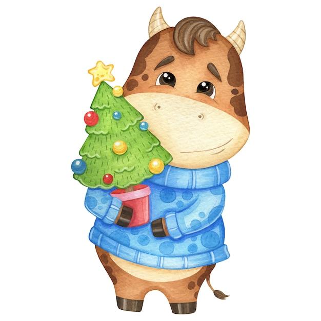 Милый бык в свитере и с елкой. акварельные иллюстрации Premium векторы