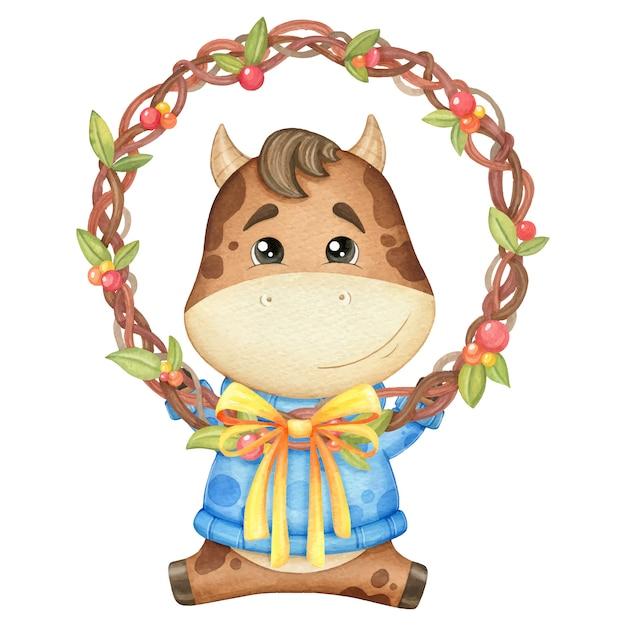 Милый бык в свитере с венком. акварельные иллюстрации Premium векторы