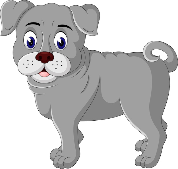 Cute bulldog cartoon Premium Vector
