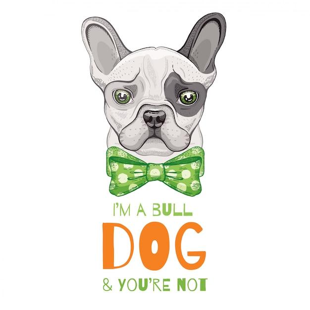 Cute bulldog dog. doodle sketch for t-shirt print, poster, cart design. Premium Vector