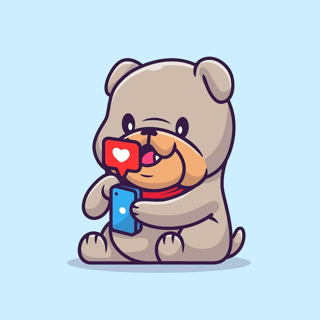 Cute bulldog playing phone cartoon vector  illustration. animal technology  concept isolated  vector. flat cartoon style Free Vector