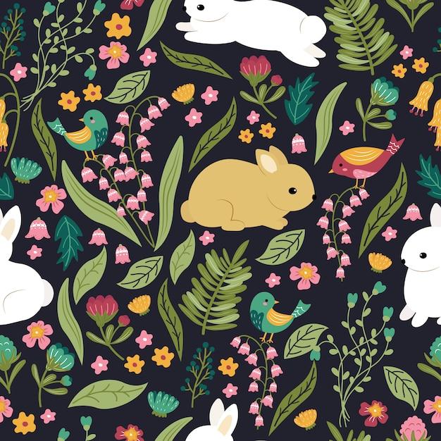 정원 완벽 한 패턴의 귀여운 토끼 어린이 원활한 패턴 디자인. 프리미엄 벡터