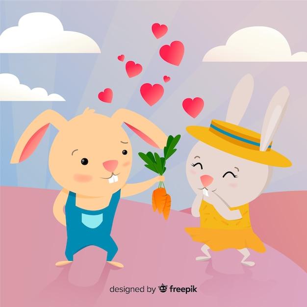 Cute bunnies in love cartoon Free Vector