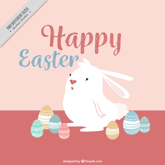 Cute bunny background with hand drawn easter eggs