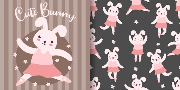 Cute bunny ballet animal seamless pattern with baby card Premium Vector