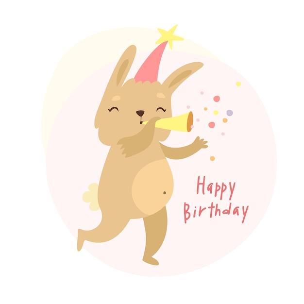 Carta di compleanno simpatico coniglietto Vettore gratuito