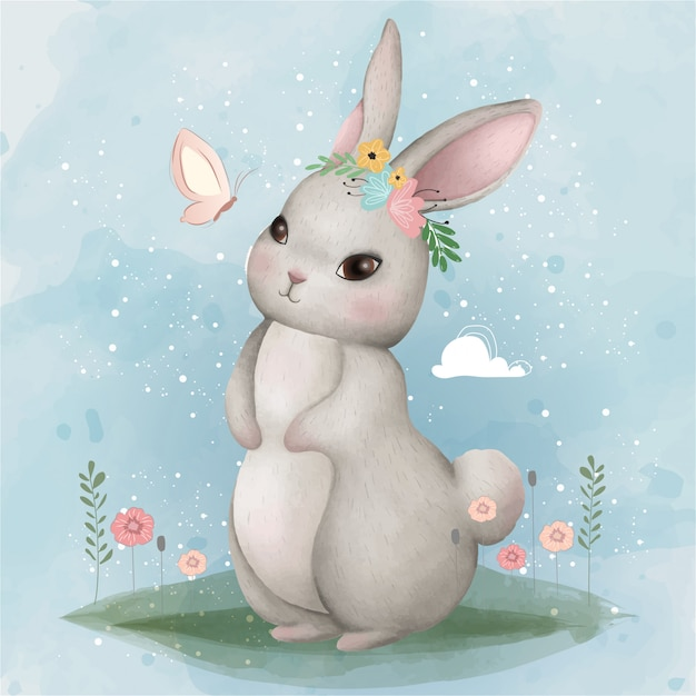 Cute bunny and butterfly Premium Vector