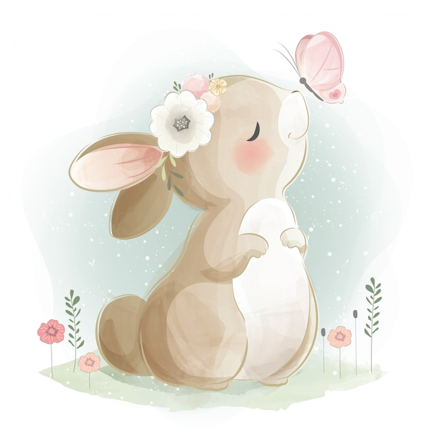 Cute bunny and the butterfly Premium Vector