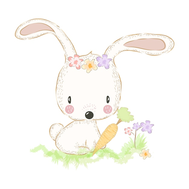 Cute bunny and carrot Premium Vector
