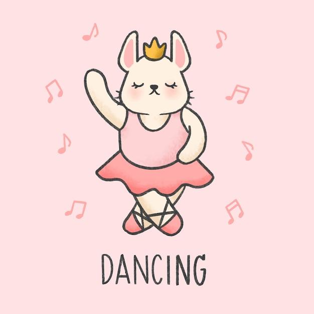 Cute bunny dancing cartoon hand drawn style Premium Vector