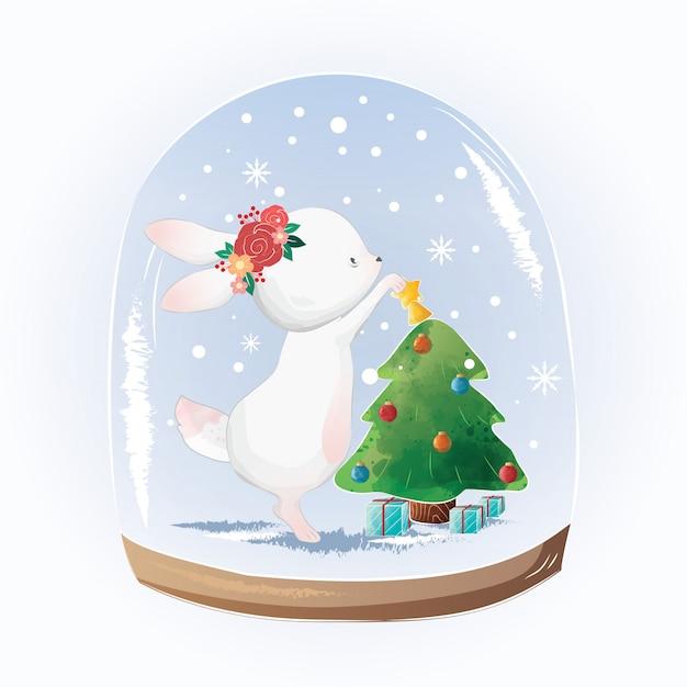 Cute bunny decorate the christmas tree Premium Vector