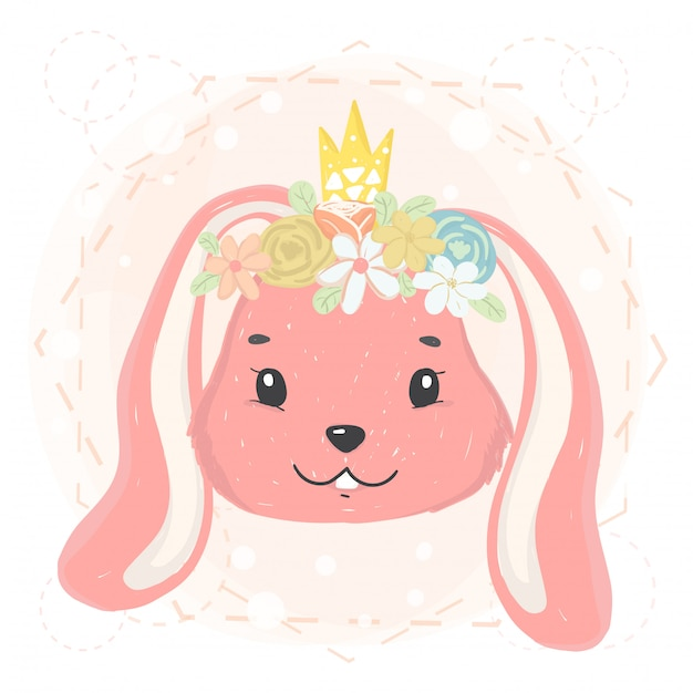 Cute bunny face with flower wreath and crown in spring Premium Vector