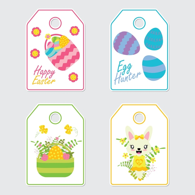 Cute bunny flowers and colorful egg vector cartoon illustration cute bunny flowers and colorful egg vector cartoon illustration for easter gift tags premium negle Choice Image