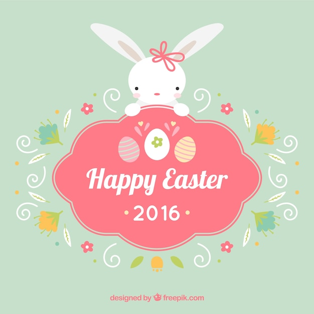 Cute bunny Happy Easter badge Vector | Free Download