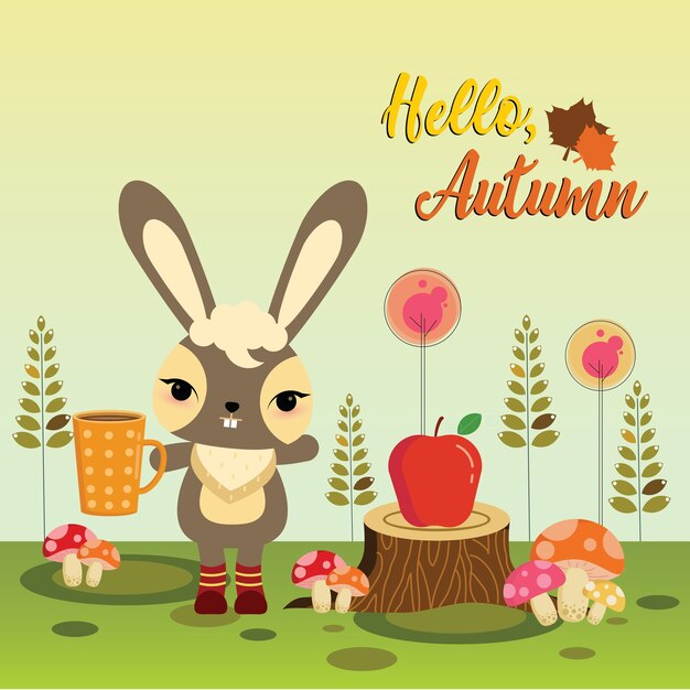 Cute bunny holding hot chocolate Premium Vector