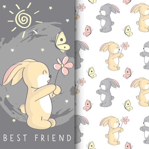 Cute bunny illustration with kids seamless pattern Premium Vector