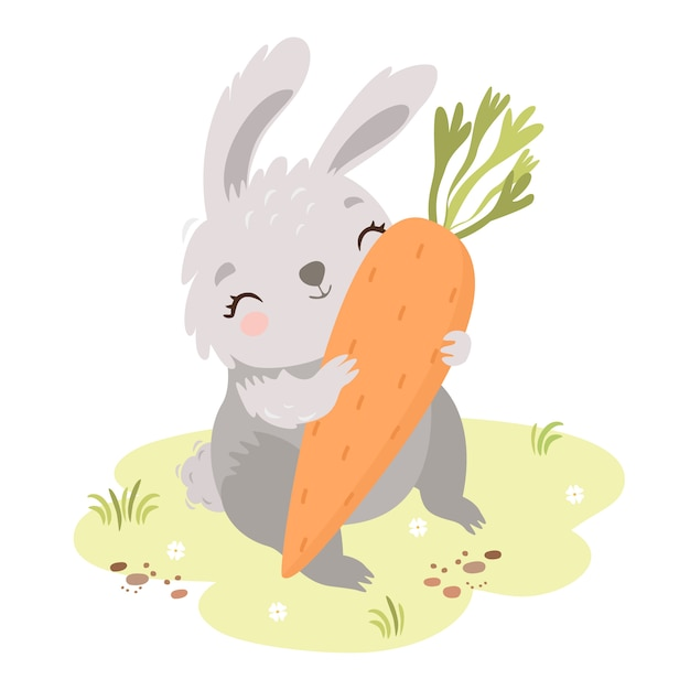 Cute bunny in the meadow with carrot Free Vector