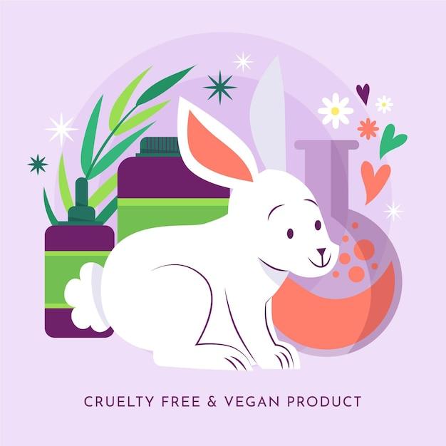 비건 제품 옆에있는 귀여운 토끼 무료 벡터