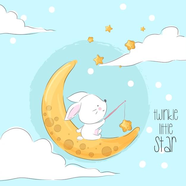 Милый зайчик на луне мультфильм животных Premium векторы