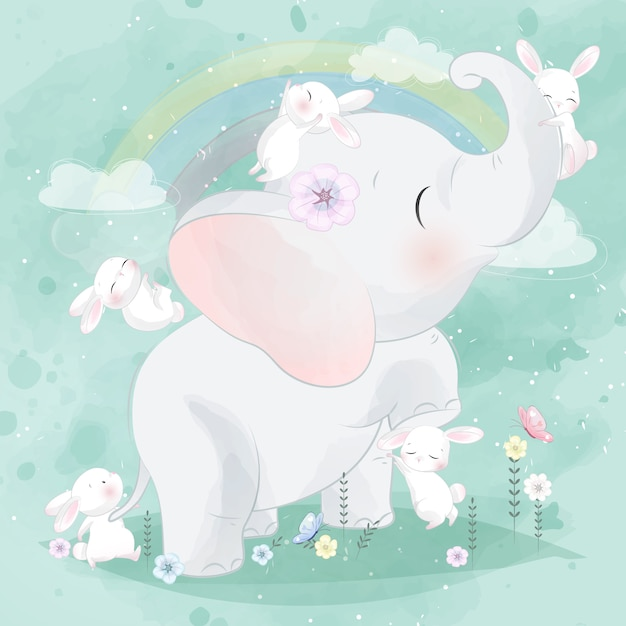 Cute bunny playing with elephant Premium Vector