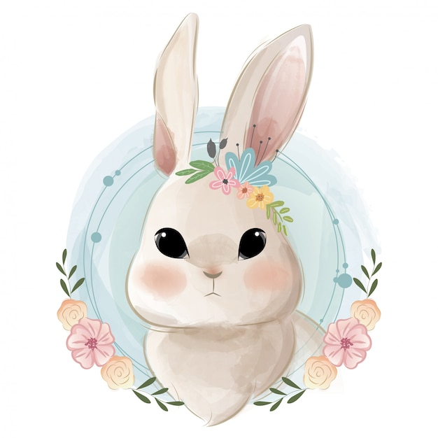 Cute bunny portrait Premium Vector
