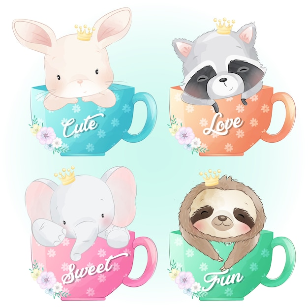 Premium Vector Cute Bunny Raccoon Elephant And Sloth Sitting Inside The Coffee Cup