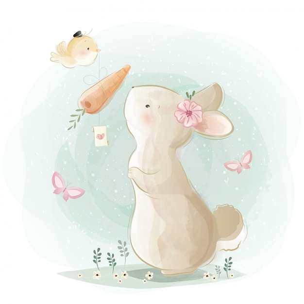 Cute bunny receiving a carrot gift Premium Vector