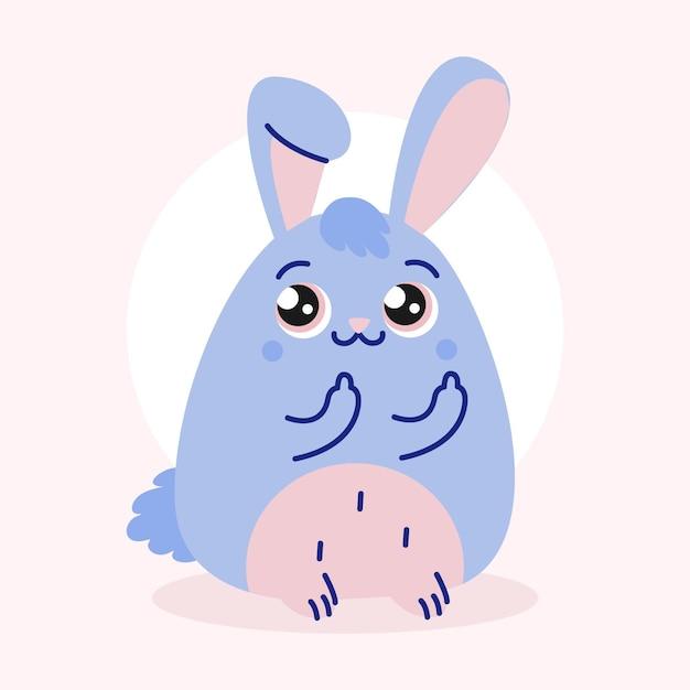 あなたのシンボルの性交を示すかわいいウサギ Premiumベクター