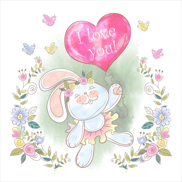 Cute bunny with a balloon in the form of a heart Premium Vector