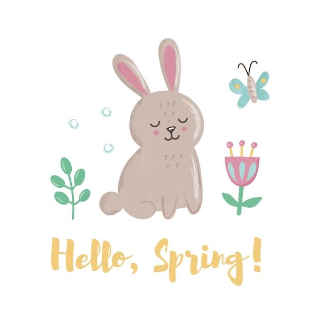 蝶、葉、花とかわいいウサギ。 「ハロースプリング」のレタリングのコンセプト Premiumベクター
