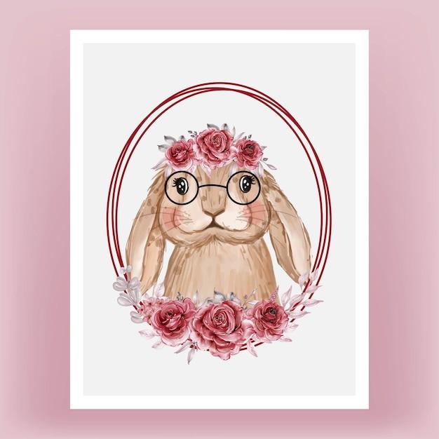 Simpatico coniglietto con acquerello ghirlanda di fiori Vettore gratuito