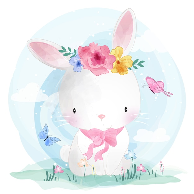 Cute bunny with flower Premium Vector