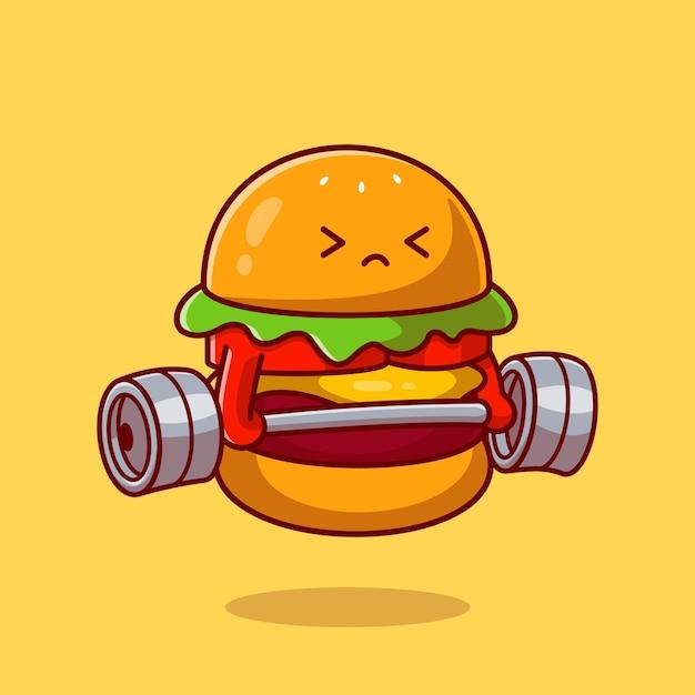 かわいいハンバーガーリフティングバーベル漫画ベクトルアイコンイラスト。食品健康アイコンの概念。フラット漫画スタイル 無料ベクター