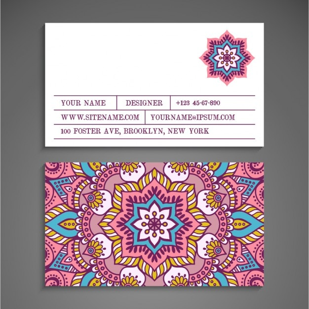 Cute Business Card Boho Style In Light Colors Vector Free Download